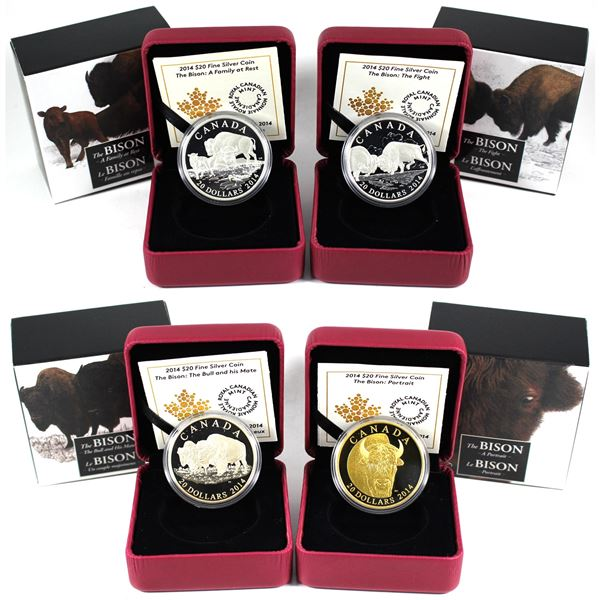 Lot of 4x 2013 Canada $20 The Bison Series. Includes all 4 unique designs: The Bull and His Mate, Th