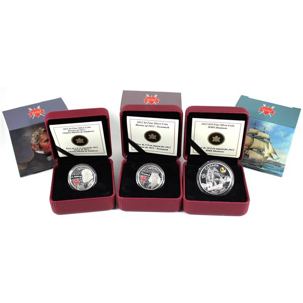 Lot of 3x 2012 & 2013 Canada $4 & $10 War of 1812 and Heroes of 1812 Fine Silver Coins. Includes 201