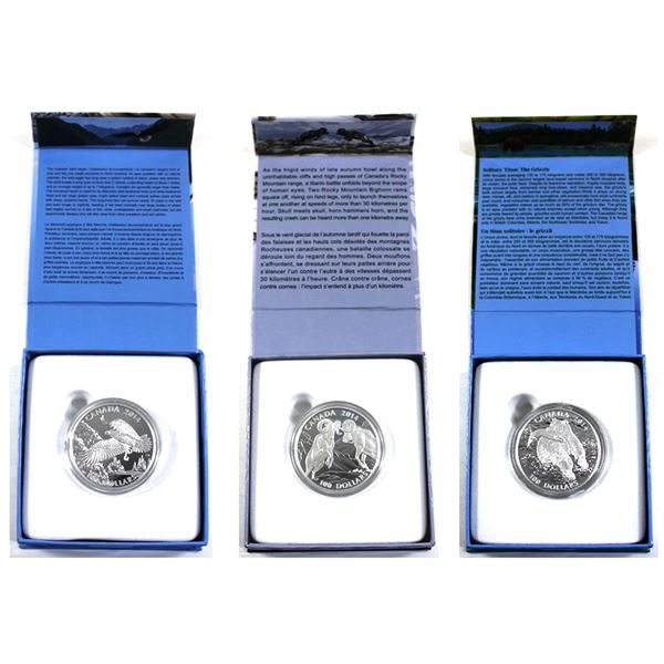Lot of 3x 2014 Canada $100 for $100 Fine Silver Coins. Includes The Grizzly, The Majestic Bald Eagle