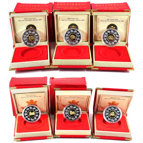 """Lot of 6x 1998-2008 Canada $15 Lunar """"Year of the"""" Sterling Silver Coins. Includes 1998 Tiger, 2000"""