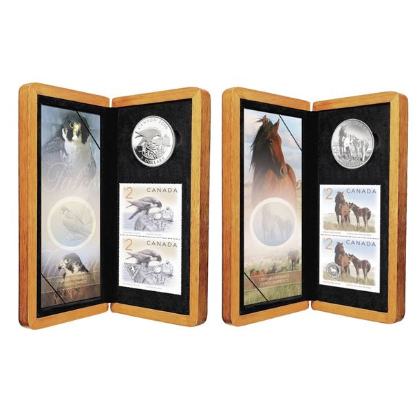 Lot of 2x 2006 Canada $5 Fine Silver Coin and Stamp Sets. Includes Sable Island Horse and Foal, and