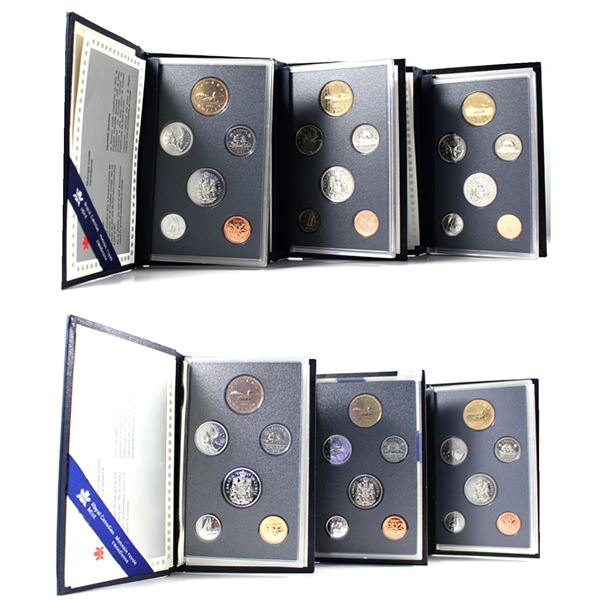 Lot of 6x 1988-1996 Canada Specimen Sets. Includes 1988, 1989, 1992, 1993, 1995, and 1996. Coins are