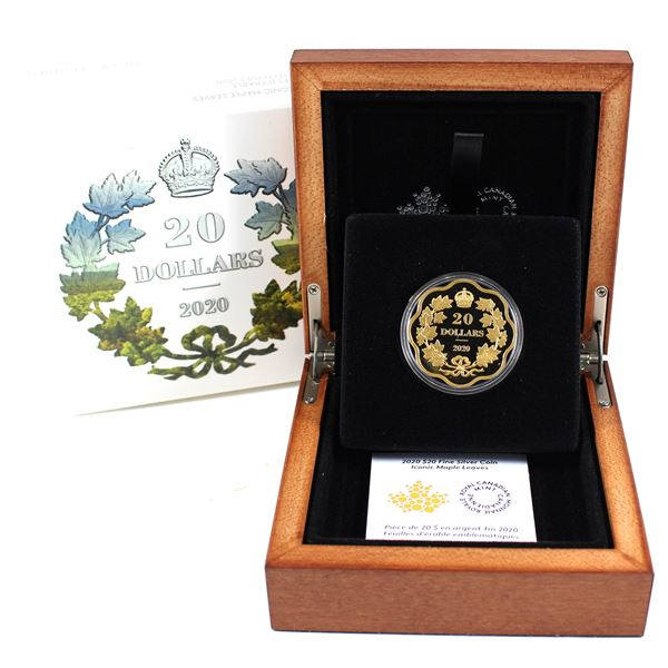 2020 Canada $20 Iconic Maple Leaves Masters Club Fine Silver Coin (Tax Exempt) Exclusive availabilit