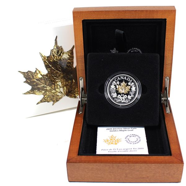 2019 Canada $15 Golden Maple Leaf Fine Silver Coin. Highly collectable!