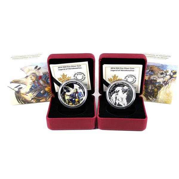 Lot of 2x 2014 Canada $20 Nanaboozhoo Fine Silver Coins. Includes Nanaboozhoo & the Thunderbird's Ne