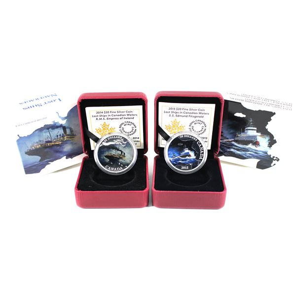 Lot of 2x 2014 & 2015 $20 Lost Ships in Canadian Waters Fine Silver Coins. Includes 2014 RMS Empress