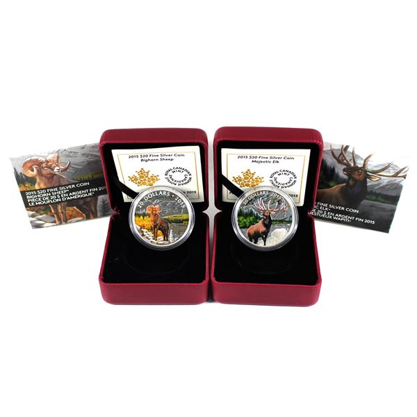 Lot of 2x 2015 Canada $20 Large Game Fine Silver Coins. Includes Majestic Elk and Bighorn Sheep. Coi