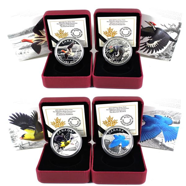 Lot of 4x 2016 Canada $20 The Migratory Birds Convention Series Fine Silver Coins. Includes Mountain