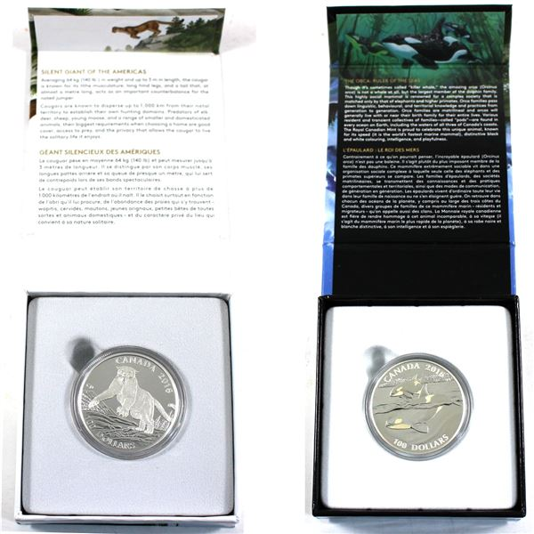 Lot of 2x 2016 Canada $100 for $100 Fine Silver Coins. Includes Orca and Cougar. Coin toned but it w