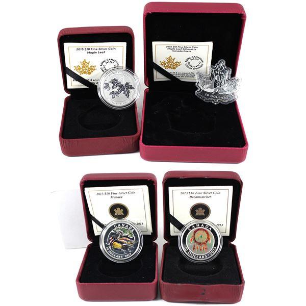 Lot of 4x 2013-2016 Canada $10 Fine Silver Coins. Includes 2013 Mallard, 2013 Dreamcatcher, 2015 Map