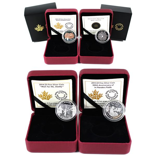 """Lot of 4x 2014-2016 Canada $3 Fine Silver Coins. Includes 2014 """"Wait for Me, Daddy"""", 2014 Spider and"""