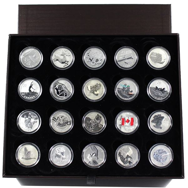 2011-2015 Canada $20 for $20 & $25 for $25 20-coin Set, Deluxe Case & Folders (No Tax) Includes all