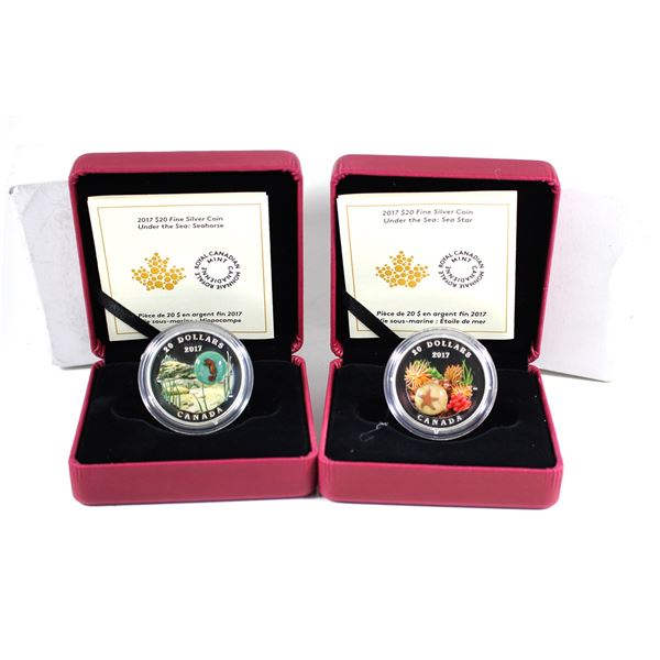 Lot of 2x 2017 Canada $20 Under the Sea Fine Silver Coins with Glass Embellishments. Includes Seahor