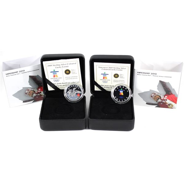 Lot of 2x 2008 & 2010 Canada Sterling Silver Olympic Lucky Loonies. Includes 2008 Coloured Logo Flyi