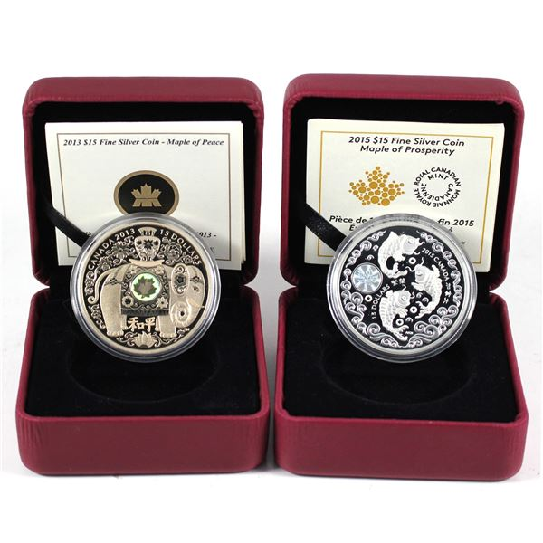 Lot of 2x 2013 & 2015 Canada Fine Silver Blessings Coins. Included is 2013 Maple of Peace, and 2015
