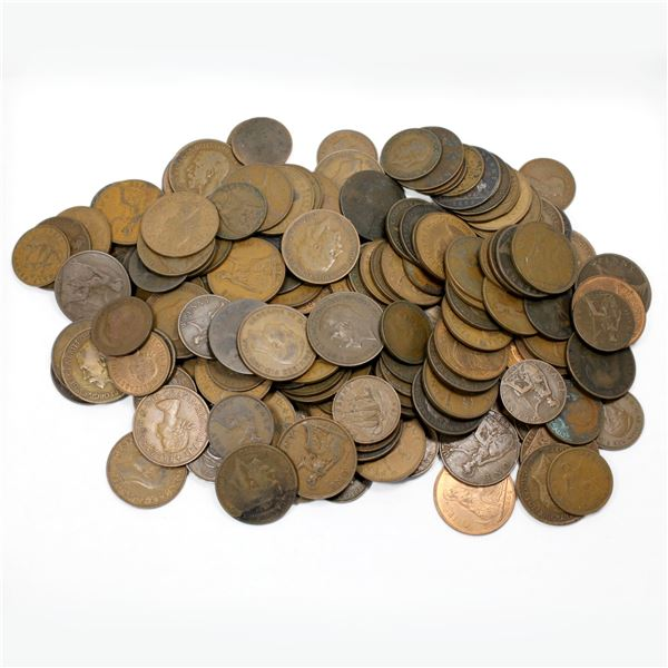 Lot of Mixed Great Britain Penny and Half Penny Coinage. Total of 2.6 pounds!