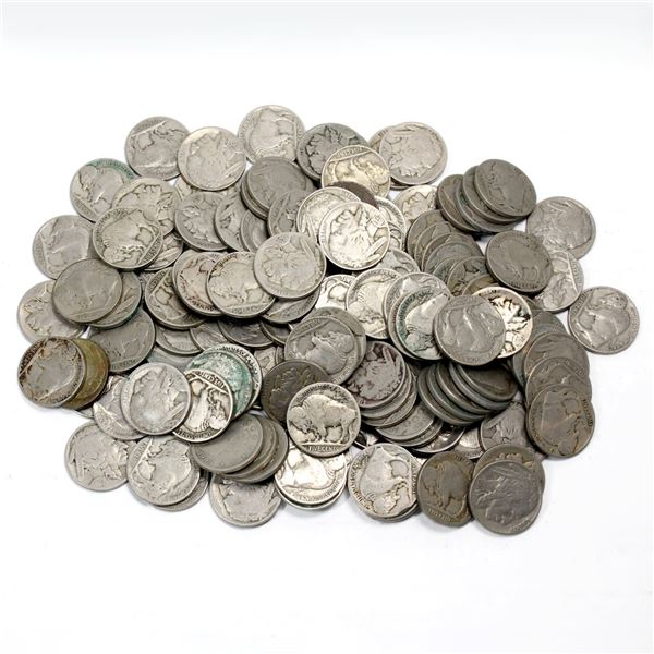 Lot of Mixed Date USA Buffalo Nickels. Approximately 1.2 pounds!