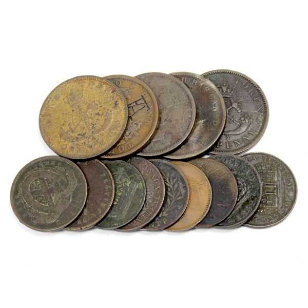 Lot of 14x Mixed Estate Lot of Copper Bank Tokens 1800's. Good mixture. Please view the image for mo
