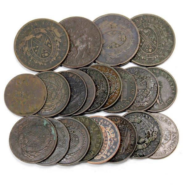 Lot of 21x Mixed Estate Lot of Copper Bank Tokens 1800's. Please view the image for more detail.