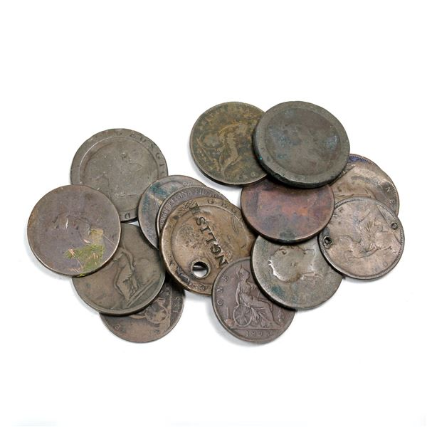 Lot of 15x 1800s Great Britain Pennies. Average to circulated condition.