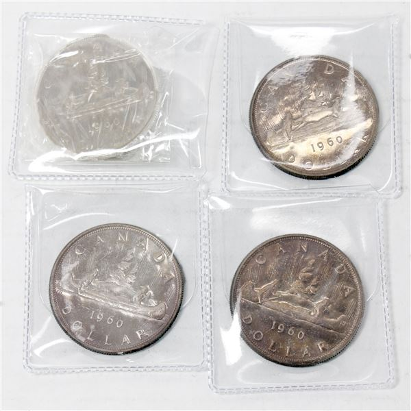 Lot of 4x 1960 Canada Proof-Like Silver Dollars. Coins are toned.