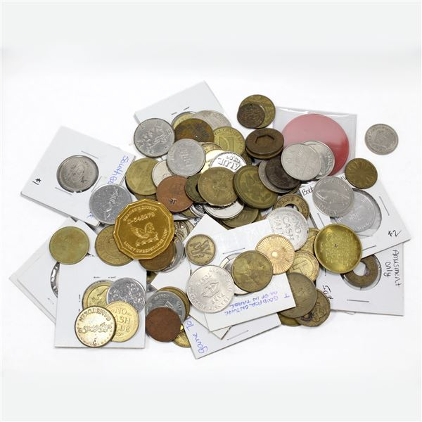 Lot of Mixed Tokens, Parking Tokens, Business Medallions, and More! Total of 0.8 pounds. A wide vari