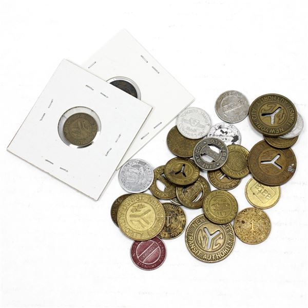 Lot of Mixed Transit Tokens. 26 Pieces.