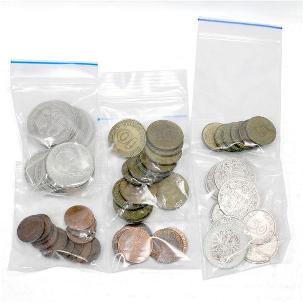 Lot of 67x Germany Coins. 14x 2M, 3x 1M, 5x Silver 1M, 2x 50 Pfennig, 18x 10 Pfennig, 6x 5 Pfennig,