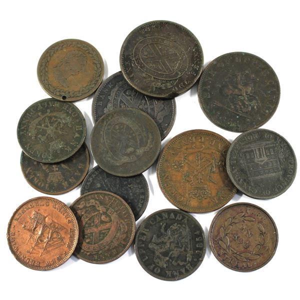 Lot of 14x Mixed 1800s Copper Bank Tokens. Good mixture. Please view the image for detail. Various i