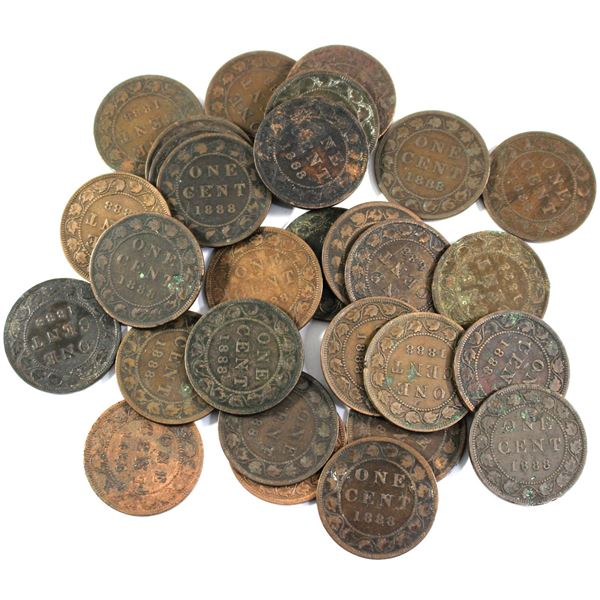Lot of 29x 1888 Canada Large Cents. Average condition, various imperfections.