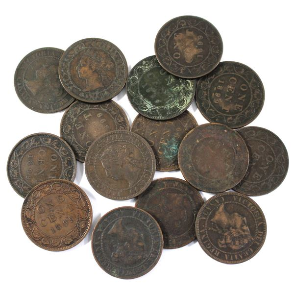 Lot of 15x 1899 Canada Large Cents. Average condition, various imperfections.