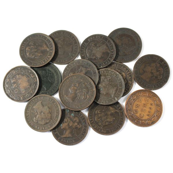 Lot of 15x 1900H Canada Large Cents. Average condition, various imperfections.