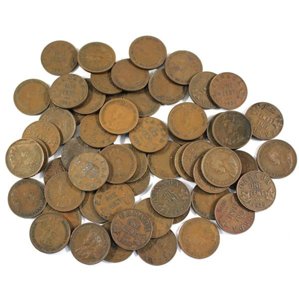 Lot of 60x 1929 Canada Small Cents. Average condition, various imperfections.