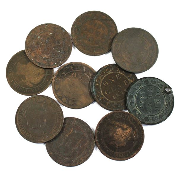 Lot of 10x 1859 Canada Large Cents. Average condition, various imperfections.