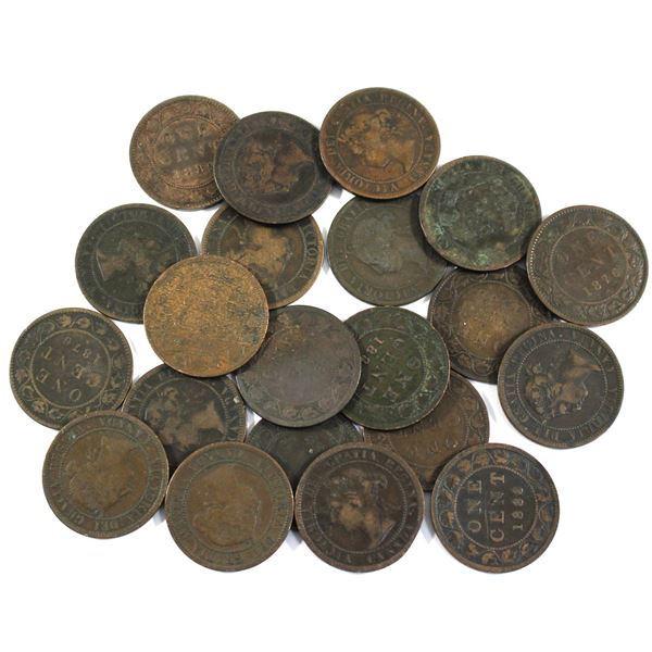 Lot of 21x Mixed 1880s Canada Large Cents. Average condition, various imperfections.
