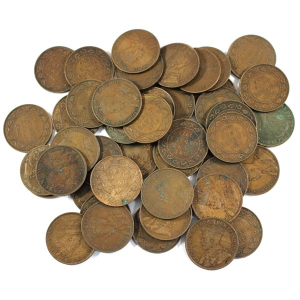 Lot of 45x 1912 Canada Large Cents. Average condition, various imperfections.