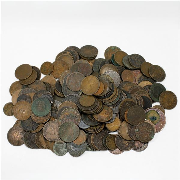 Lot of Canada and USA Copper Culled Coins. May have bank tokens or few other coins mixed in. Total o
