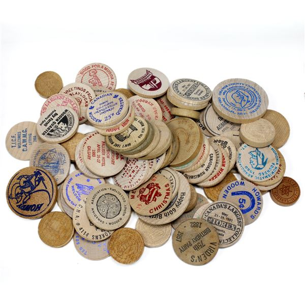 Lot of 75x Mixed Wooden Tokens. A good assortment of tokens!