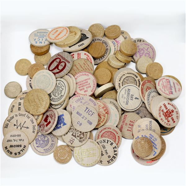 Lot of 103x Mixed Wooden Tokens. A good assortment of tokens!