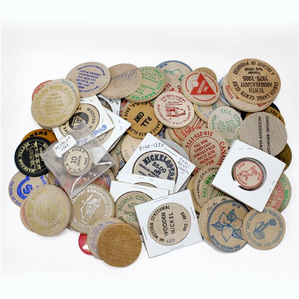 Lot of 78x Mixed Wooden Tokens. A good assortment of tokens! Other tokens are mixed in but only toke