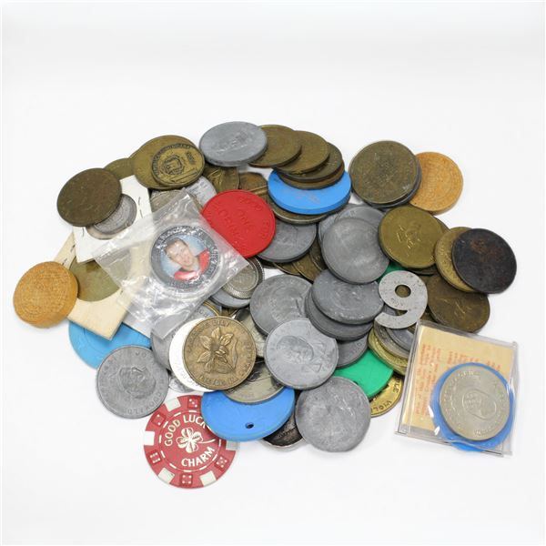 Lot of Mixed Tokens, Trade Dollars, Medallions, and More! Total of 1.9 pounds to sort through!