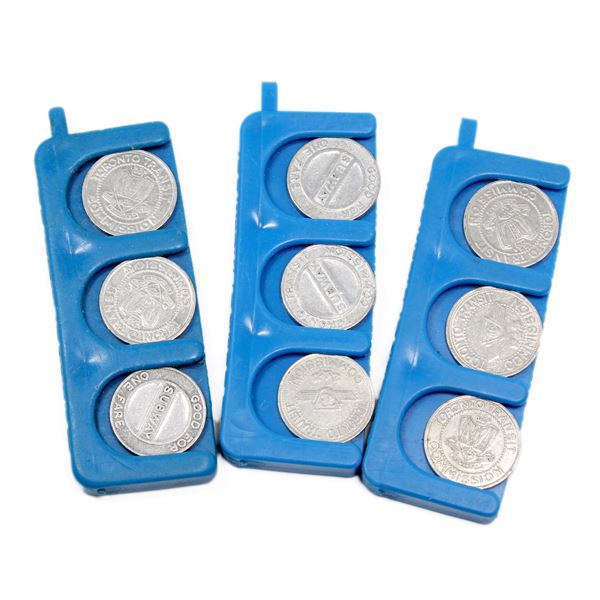 Lot of 18x Old Generation Toronto Transit Commission TTC Tokens. Tokens are stored in 3x blue keycha