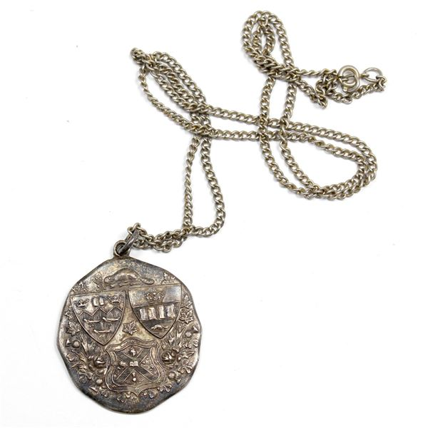 """Sterling Silver 1st Place Medal for Discus Throw. Inscribed """"Discus 1st A.D.W. Kay 114 ft. 6 in"""""""
