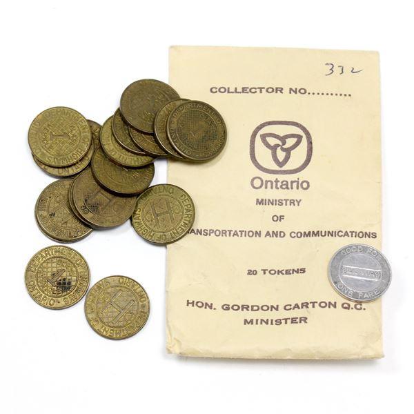 Lot of 17x Ontario Department of Highways Tokens, and 1x Vintage TTC Token.