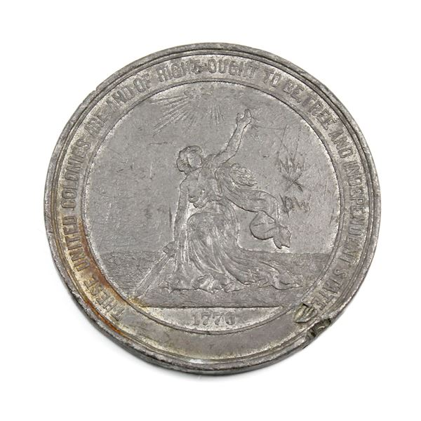 """1876 100th Anniversary of American Independence Act of Congress 1874 Medallion. """"NW X DW"""" etched int"""