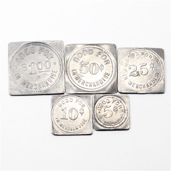 Lot of 5x T.L. Wurm Zurich, Ontario Merchant Tokens 5ct to $1 set