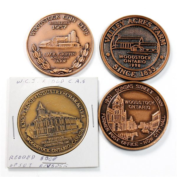 Lot of 4x Copper or Brass Woodstock Ontario Medallions. Includes 1990 Coin Club, Centennial with Cit