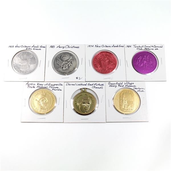 Lot of 7x Commemorative Medallions. Includes 1974 New Orleans Mardi Gras, 1984 Turnbull Social & Car