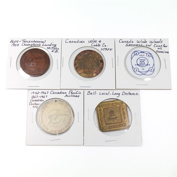 Lot of 5x Commemorative Canada Medallions. Includes 1942-1967 Canadian Pacific Airlines, Bell Teleph
