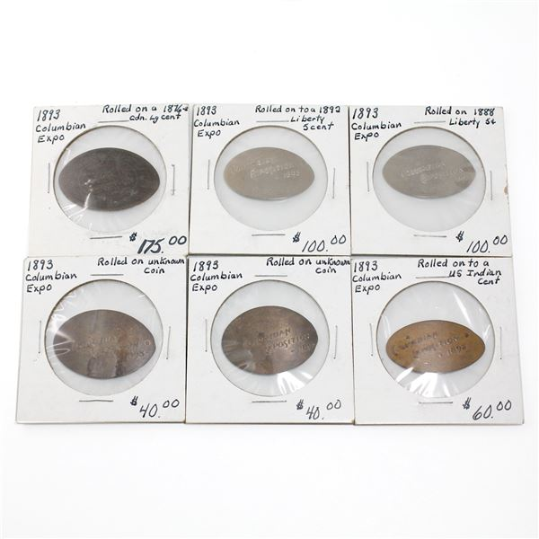 Lot of 6x 1893 Columbian Expo Rolled Commemorative Tokens. Includes tokens rolled from USA Indian Pe